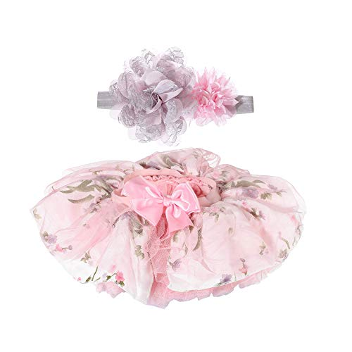 Tutu Skirt for Baby Girls Toddler Dress Up with Headband 0-3T (Printed Pink, S: 0-6 Months)