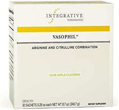 Integrative Therapeutics – Vasophil Drink Mix – Arginine and Citrulline Combination – Support Cardiovascular, Vasodialation, Blood Flow, Sexual Function – Sour Apple Flavor – 30 Sachets