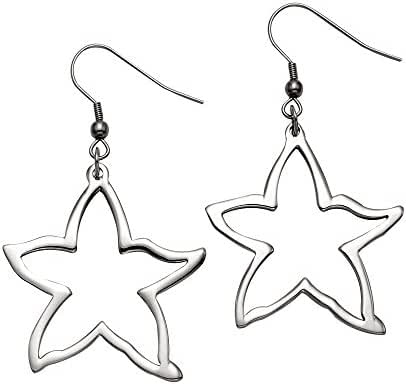 Large Stainless Steel Starfish Wire Earrings