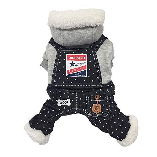 Pants Energie Denim (SUNNYYS Pet Clothes Puppy Polka Dot Denim Bib Pants with Hat Autumn and Winter)