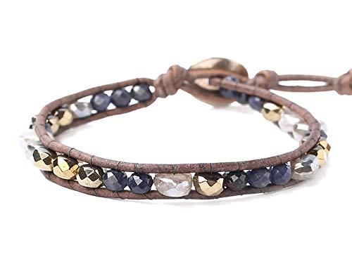 Chan Luu Blue Mix Semi Precious Mineral Stone Beaded Leather Single Wrap Bracelet