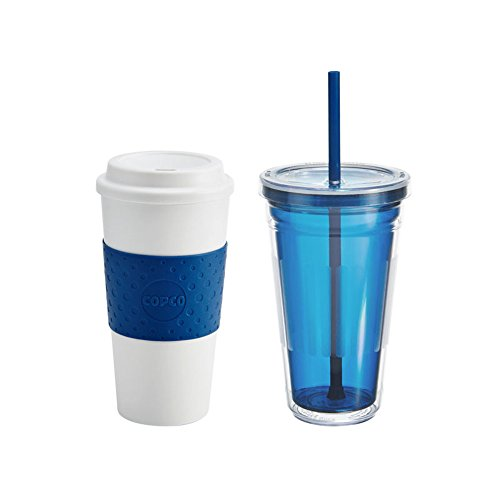 Cold Beverage Copco (Copco 2510-9854 Hot-and-Cold Tumbler To-Go Gift Set, 16-Ounces, Blue)