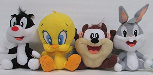Looney Tunes 4 Piece Plush Set Featuring Baby Bugs Bunny, Baby Taz Tasmanian Devil, Baby Sylvester the Cat, and Baby Tweety 6