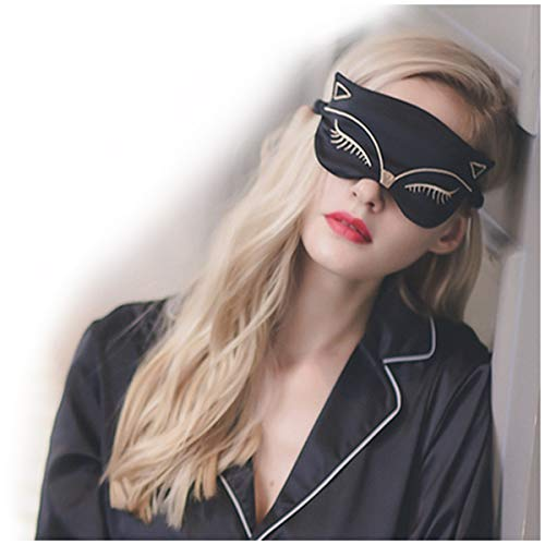 Cute Animal Sleep Eye Mask, Aimell Sexy Fox Cat Double-side Smooth Real Silk Eye Shade with Adjustable Strap (Black) by Aimell