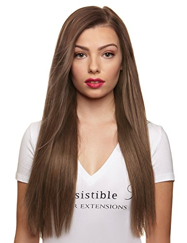 IRRESISTIBLE ME 1 piece Clip in Hair Extensions Ash Blonde (Color #10) - 100% Human Remy (Remi) Hair clip ins – Straight 1 Weft Set Clips - Signature Quad Weft - 16 Inches 60 grams (quad-10-16-60)