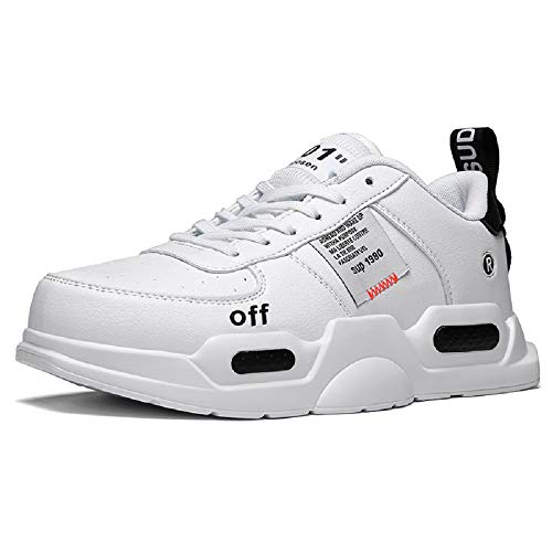 XIDISO Fashion Mens Sneakers Lightweight Walking Shoes School Teen Sport Athletic Running Shoe for Men White
