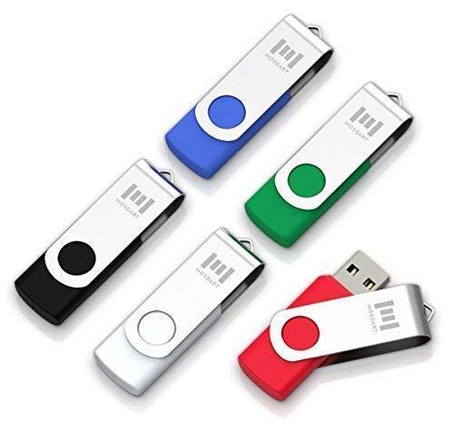 5 X MOSDART 8GB USB2.0 Flash Drive Swivel Bulk Thumb Drives Memory Sticks Jump Drive Zip Drive with Led Indicator,Black/Blue/Red/White/Green(8GB,5pack Mix Color)