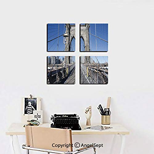 AngelSept 4 Piece Canvas Wall Art,Gothic Brooklyn Bridge New York City Famous Urban American USA Scenery,12