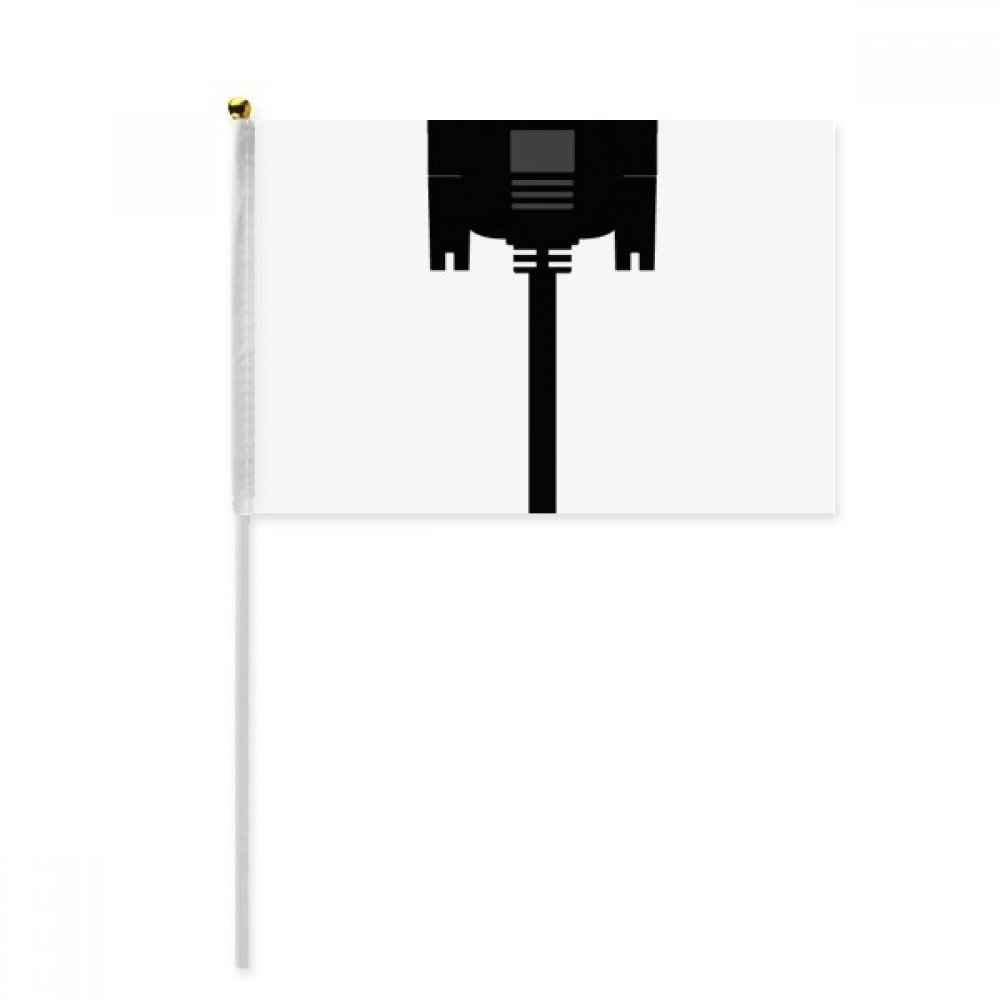 Black Display Screen Cable Plug Hand Waving Flag 8x5 inch Polyester Sport Event Procession Parade 4pcs