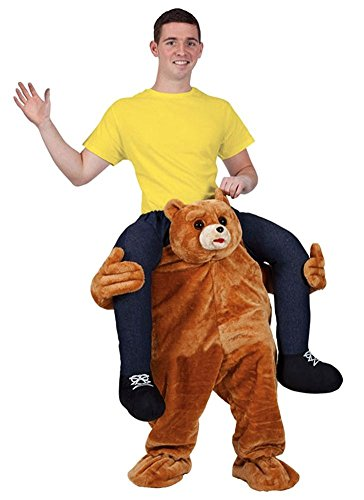 (Halloween Carry Ride On Piggy Back Shoulder Adult Teddy Bear Mascot Costume Unisex Fancy Dress)