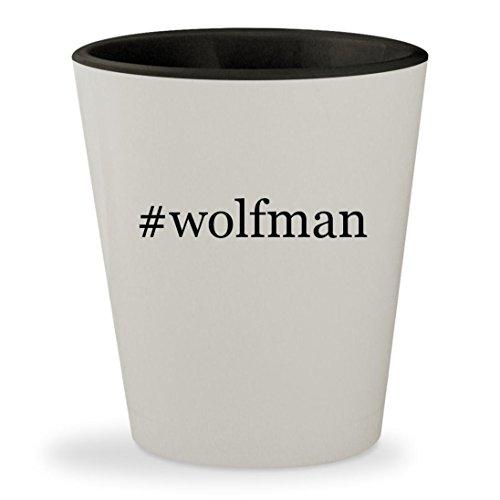 [#wolfman - Hashtag White Outer & Black Inner Ceramic 1.5oz Shot Glass] (Van Helsing Wolf Costume)