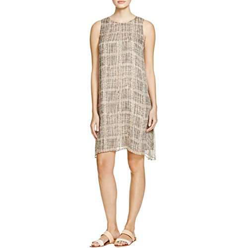 Eileen Fisher Womens Petites Silk Graphic Tunic Dress Tan PL