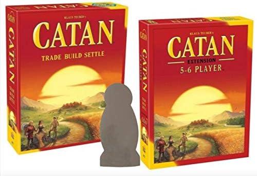 CATAN 5ª Edición Juego de Mesa con 5-6 Extensión Jugador y ladrón Etiqueta de la Ventana Bundle: Amazon.es: Juguetes y juegos