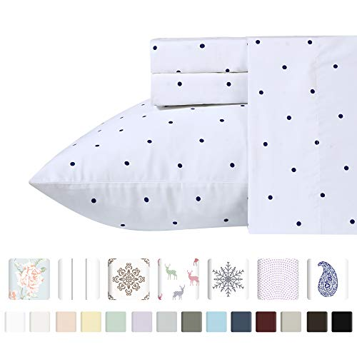 - California Design Den 400-Thread-Count 100% Pure Cotton Sheets - 4-Piece Navy Blue Polka Dot King Size Sheet Set Long-Staple Combed Cotton Premium Bed Sheets Breathable Sateen Weave Flat Sheets Set