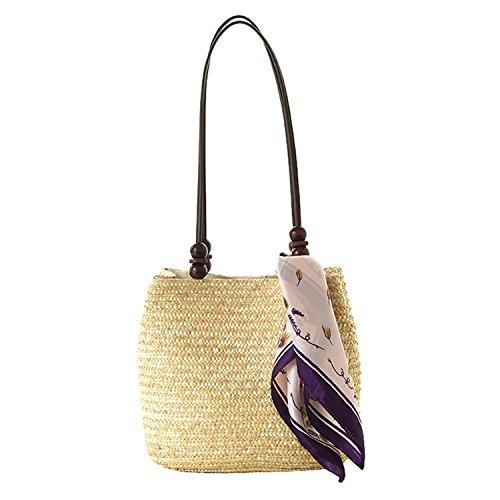 - NOTAG Woven Bag Straw Woven Tote Bag Hobo Shoulder Bag Purse Summer Beach Handbag with Scarf Lightweight Crossbody Bag Woven Straw Bucket for Women (Beige)