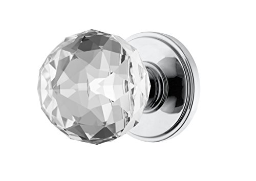 Decor Living, AMG and Enchante Accessories Faceted Crystal Door Knobs with Lock, Privacy Function for Bed and Bath, IRIS Collection, Polished Chrome