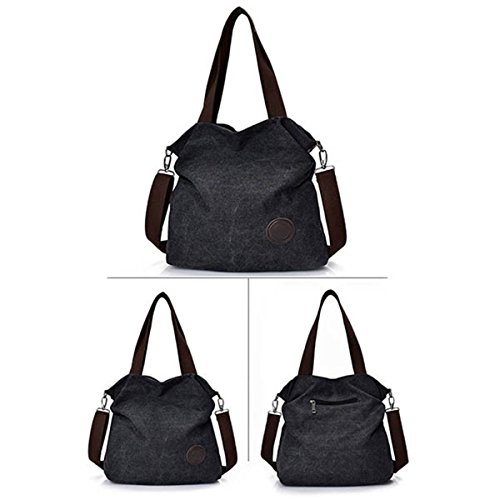 Canvas JOSEKO Large Women's Shoulder Shoulder Bags Capacity Casual Black Canvas Bag Handbag Outdoor dgxxUYwWqt