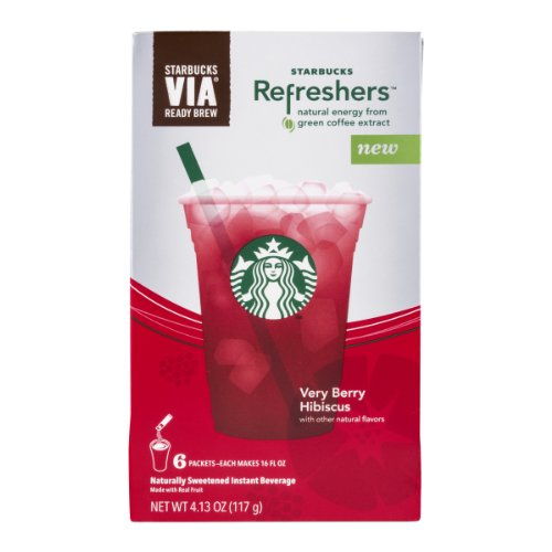 Starbucks Refreshers VIA Ready Brew Very Berry Hibiscus , 6 CT (Pack of 12)