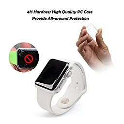 [2 Pack] PC Apple watch case, Fivefish iPhone Watch PC Screen Protector Full Coverage All-around Protective 0.3mm Ultra-thin Cystal Clear Hard Cover for i watch All Models 2015 – Apple Watch Case 42MM