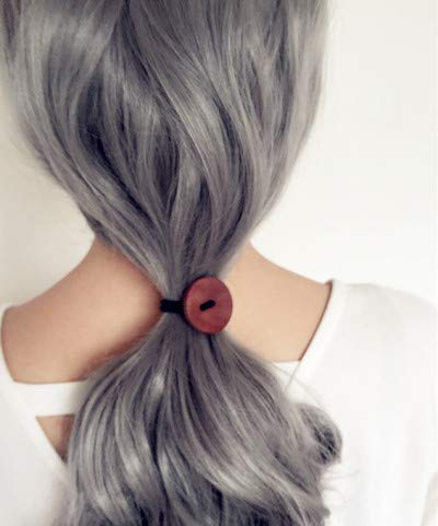 Little Story Women Simple Wood Elastic Hair Tie Rope Band Ponytail Holder Button Fashion New ()