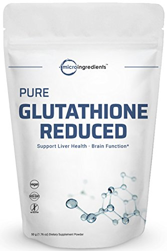 Pure Glutathione Reduced Powder, 50 Grams, Powerfully Supports Healthy Liver Function, Immune System and Cardiovascular Health. Non-Irradiated, Non-Contaminated, Non-GMO and Vegan Friendly.