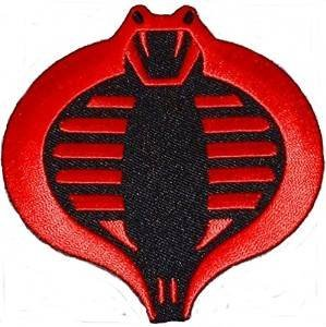 - Patch Squad Men's G.I. JOE Cobra Logo Embroidered PATCH (Black/Red Iron On)