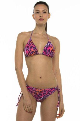 Private Island Hawaii UV Women Triangle Stringer Bikini Top Leopard 2 X-Large