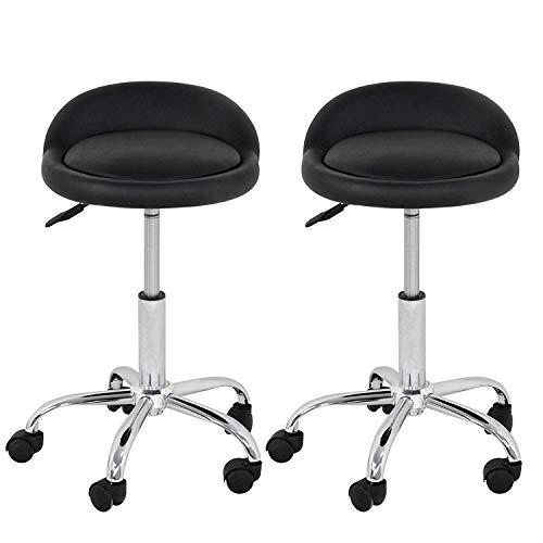 Nova Microdermabrasion Adjustable Hydraulic Rolling Swivel Salon Stool Chair Tattoo Massage Facial Spa Stool Chair with Back Rest (PU Leather Cushion) (Black 2pcs)