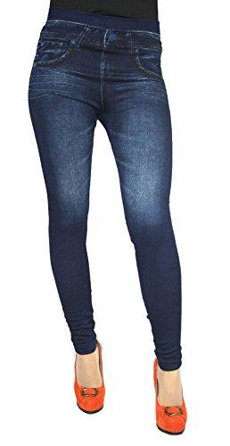 Leggings in Jeans Baumwolle Loock Optik Super Stretch Betonte (S/ M = 36/38, Blau 01)