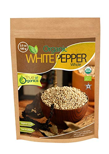 (Organic White Pepper Whole USDA Organic Certified, Fair-Trade, Pure Ceylon Premium Quality by True Organics (3.5 oz))