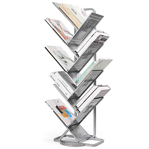 LIANTRAL 9-Shelf Bookshelf Tree Bookcase Metal Hollow Artistic Book Rack Organizer Display Storage Thickened Compact Holder for Magazines,CDs, Movies & Books in Home & Office
