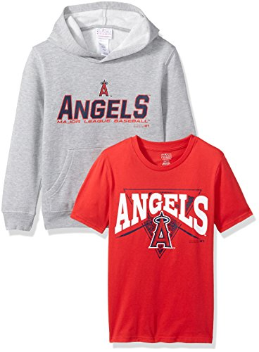 MLB Youth Boys 8-69 Los Angeles Angels Tee & hood Set, Heather Grey, Youth Boys Medium(10-12)