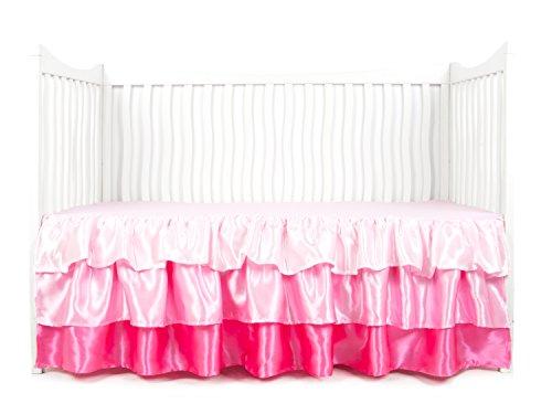 Tadpoles Ruffled Satin Crib Skirt, Pink