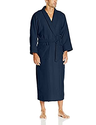 100% Cotton Waffle Robe with Terrycloth Lining and Shawl Collar