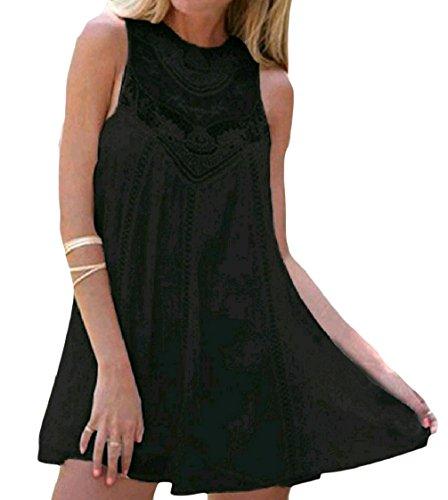 Chiffon Solido Breve Dimensioni Una Sole Di Vestito Linea Girocollo Nero Elegante donne Pizzo Grandi Coolred qwEZRtt