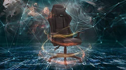 GAMING – Chaise Gamer Fauteuil de Bureau Ergonomique Gaming Pivotant Couleur Noir Inclinable avec Accoudoirs, 5…