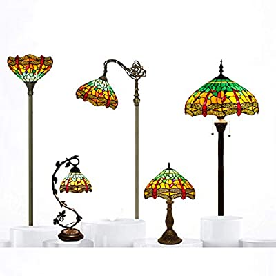 Tiffany Style Reading Floor Lamp Stained Glass Green Yellow Dragonfly Lampshade in 64 Inch Tall Antique Arched Base for Girlfriend Bedroom Living Room Lighting Table Set S009G WERFACTORY
