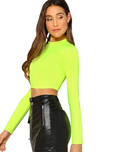 Verdusa Women's Casual Slim Fitted Basic Long Sleeve Solid Crop Tee Top Neon Green L