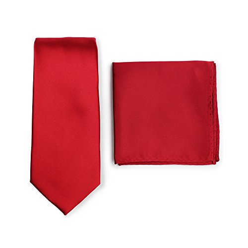 Bows-N-Ties Men's Solid Necktie and Pocket Square Set (Crimson Red) ()