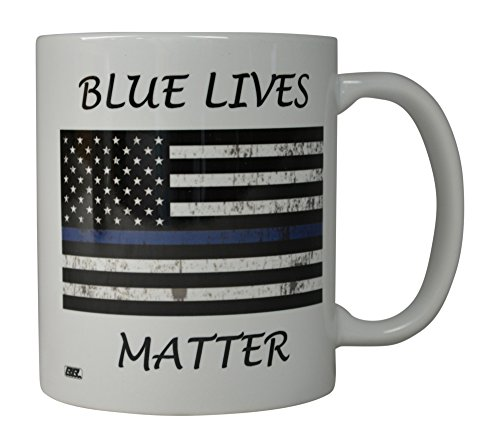 Rogue River Coffee Mug Blue Lives Matter Flag Thin Blue Line Novelty Cup Great Gift Idea For Police Officer Law Enforcement PD (Blue Lives) -