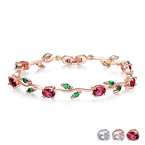 FEDONA 18k Yellow Gold-Plated Sterling Silver Diamond Accent Two-Tone Gemstone Tennis Bracelet Diamond Bangle Bracelet Colorful