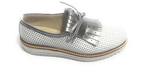 Zapatos mujer BIANCO SPECCHIO para ACCIAIO de By de N 37 cordones YOX Piel BARBATO xCngz