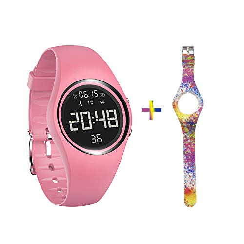 mijiaowatch Fitness Tracker, Smart Watch Non-Bluetooth, Pedometer Smart Bracelet with Timer Step Calories Counter Date Vibration Alarm for Sport Walking Kids Women Men (Black) (Pink)