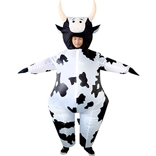 HUAYUARTS Inflatable Costume White Cow Game Cloth Adult Funny Blow up Suit Halloween Cosplay Party Gift, Free Size -