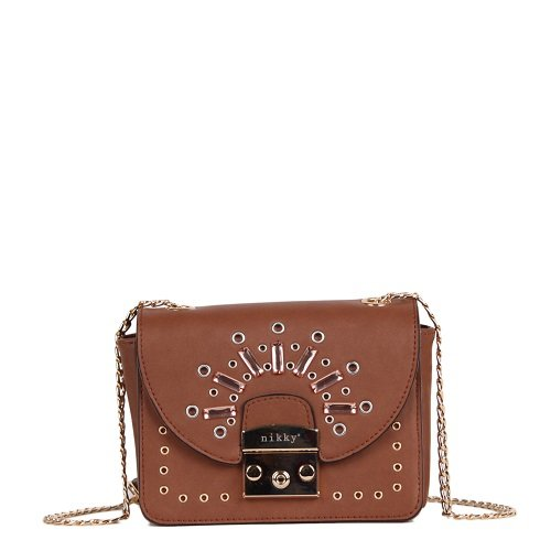 Body Size Stone Women's Nikky Cross Brown Brown Chain Fashion Studs Bag One Strap Crossbody q87w671