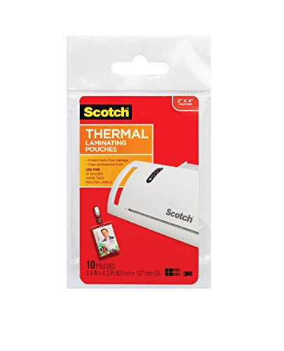 Scotch Thermal Laminating Pouches ID Badge With Clip, 2.4 Inches x 4.2 Inches, 10 Pouches  - Laminating Badge Id