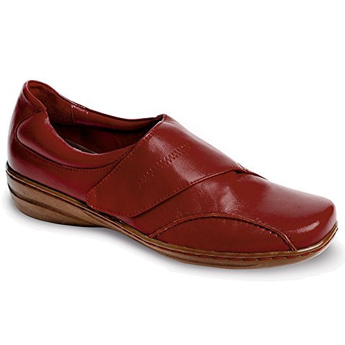 Velcro Leather Fastening Cushioned FANTASIA Casual Red Back Comfort Ladies Shoe Women's xFw15BU