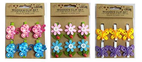 Pack of 18 - Yuktha Eternals Mini Photo Clips 1 inch Butterfly, Flower, Bee Design Colored Natural Wooden Photo Paper Peg Pin/Clothespins/Craft Clips. (Wooden Flower Peg)