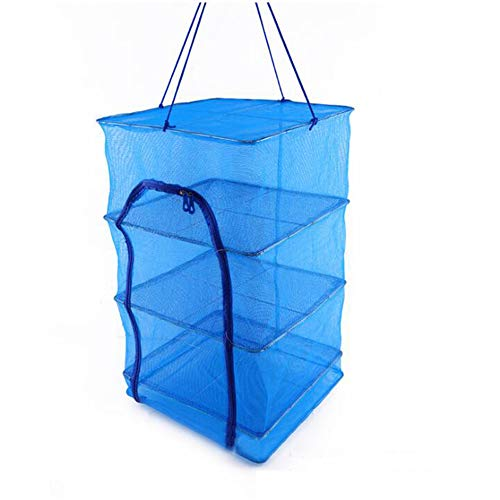 funchic Hanging Drying Net, Herb Drying Rack Net 4 Layer Herb Dryer Blue Mesh with Zipper,Food Dehydrator - Natural Way to Dry Food As Fruits,Vegetables and - Dryer Mesh