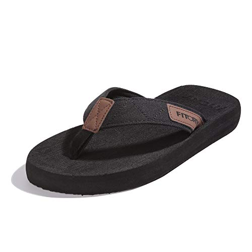 FITORY Men's Flip-Flops, Thongs Sandals Comfort Slippers for Beach Black Size8 (Best Male Flip Flops)